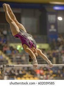 TURIN-FEBRUARY 25:Jessica Mattoni of World Sport Academy race in Serie A Italian Championship of Artistic Gymnastic, Italy's most prestigious league, in Palaruffini 2017,February 25, Italy