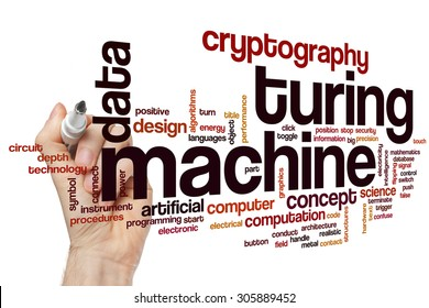 Turing machine word cloud concept with data cryptography related tags