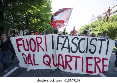 Turin,Italy-April 25, 2016: March with anarchist, antifascist  and partisan flags for remember the day of liberation on Italy in Turin, Italy