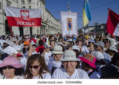 Turin,Italy-June 22, 2015:Pope Francesco meets on the faithful on Piazza Vittorio Emanuele in Turin, Italy
