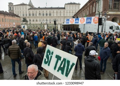 Turin,Italy-November 10, 2018: People during the demonstration of the Si Tav, citizens in favor of the construction of the TAV demonstration with 40 thousand demonstrators take part on Piazza Castello