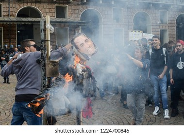 Turin,Italy-October 12, 2018: Students during the student demonstration against the government 'M5S-Lega Nord' Matteo Salvini and Luigi Di Maio for the failed promises for Italian schools