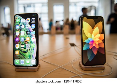 Turin,Italy-September 21,2018: New Apple iPhone XS on sale in official stores, September 21, 2018 is the day of arrival in Italy of the two new smartphone Apple iPhone XS and iPhone XS Max