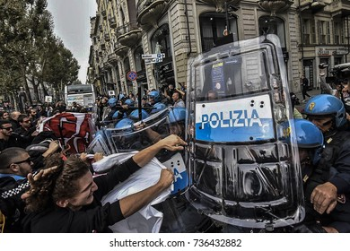 Turin,Italy-September 29, 2017: Clashes Police against Students G7 Turin in Turin, Italy
