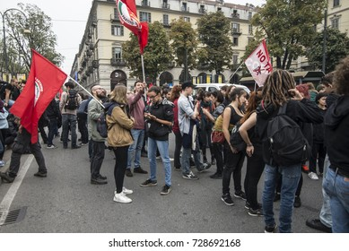 Turin,Italy-September 29, 2017: March Students against G7 Turin in Turin, Italy