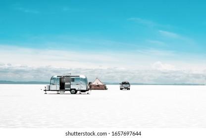 Turist camp with trailer in Salar de Uyuni