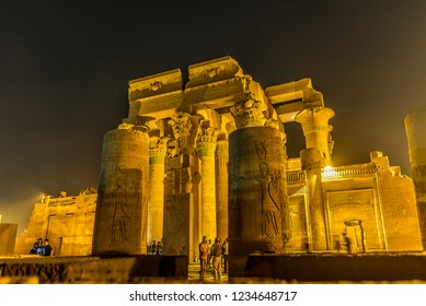Turists visiting the temple of Kom Ombo at night, Egypt, October 23, 2018