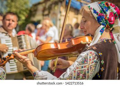 Turka, Ukraine - August 06, 2017: international boycos festival in Turka, Ukraine. Boykos or simply Highlanders are a Ukrainian ethnographic group located in the Carpathian Mountains of Ukraine.
