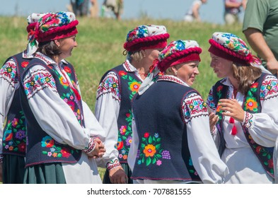 Turka, Ukraine - August 06, 2017: international boycos festival . Boykos or simply Highlanders (verkhovyntsi) are a Ukrainian ethnographic group located in the Carpathian Mountains of Ukraine.