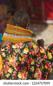turkana woman wearing the hand made bead traditional jewerly