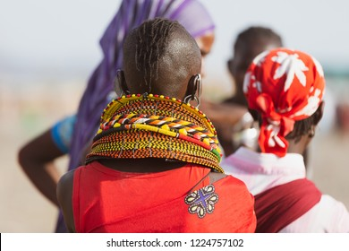turkana woman wearing the hand made bead traditional jewerly