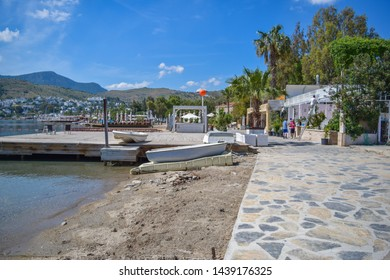 Turkbuku, Turkey - May 9 2018: Streets and buildings of Turkbuku - highest class Turkish resort with luxury hotels and villas. Bodrum peninsula.  Turkish Riviera