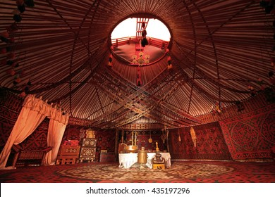 TURKESTAN, KAZAKHSTAN - AUGUST 29, 2015: The interior of a nomadic yurt in the city of Turkestan, in Kazakhstan.