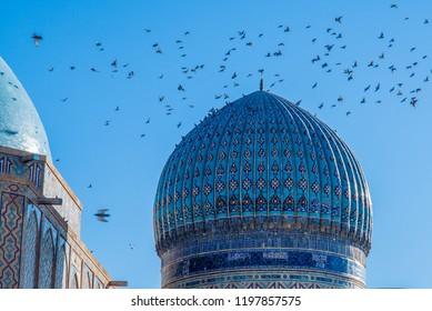 TURKESTAN, KAZAKHSTAN: Mausoleum of Khawaja Ahmed Yasawi - Close up of the dome.