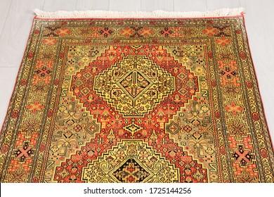 İstanbul, Turkey - 05.05.2020: rug carpet or kilim, colorful handmade and vintage