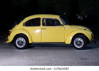 Kadıköy, İstanbul / Turkey - 05.08.2018: A yellow Volkswagen Beetle.