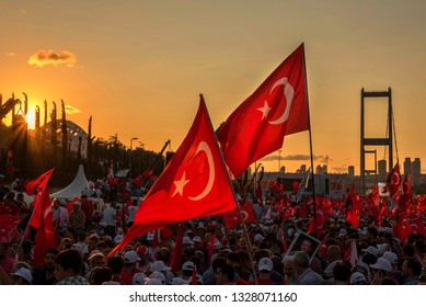 İstanbul -Turkey 07.15.2017 military coup and protest meeting
