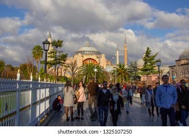 İstanbul, Turkey 10.11.2018: Ayasofya Mosque in Sultanahmet Squere.