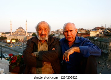 İstanbul,Turkey / Turkey - 11.10.2010: Phographers  Ara Guler and Steve Mccurry poses together on the roof of a cafe in İstanbul.