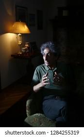İstanbul, Turkey / Turkey - 13.05.15: Turkish theatre and cinema actor Ahmet Ugurlu in his home.