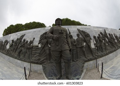 ÇANAKKALE, TURKEY, 15 MARCH 2017: Ataturk Statue in The Canakkale Martyrs Memorial is a war memorial commemorating the service of about Turkish soldiers who participated at the Battle of Gallipoli