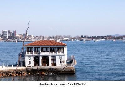 İstanbul, Turkey - 22 Apr 2021: Historical moda pier building in Istanbul. Moda İskelesi, Moda Pier, Moda Dock.