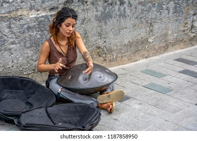 Turkey - AGUST 11, 2018: Street musicians performing with their instruments in Istiklal Avenue, Beyoglu, Istanbul. The avenue is one of the most popular attraction spot for both locals