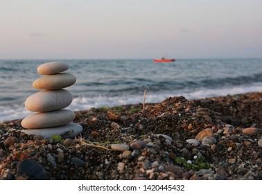 Turkey Akcakoca coast. Stones in front of the sea.