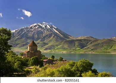 Turkey. Akdamar Island in Van Lake. The Armenian Cathedral Church of the Holy Cross (from 10th century)