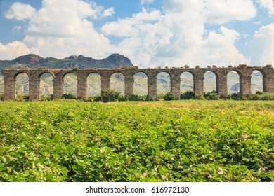 Turkey, Anatolia,Antalya,Aspendos, Aspendos Aqueduct over River Eurmedon.