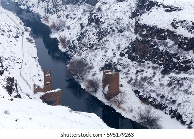 Turkey. Ani. Armenian capital in the past. Arpa River or Arpa Cayi, border river to Armenia, Eastern Anatolia Region, Anatolia, Turkey, Asia, Photo taken on: February 4rd, 2017.