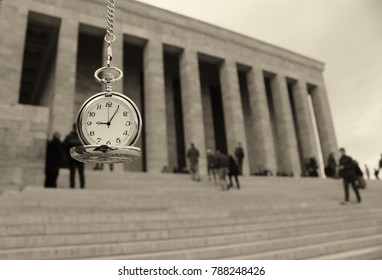 Turkey, Ankara, Ataturk's Mausoleum and time passes 09:05