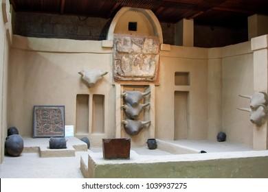 TURKEY, ANKARA ; MAY 25,2008 -  Reconstruction of Neolithic buildings in Catalhoyuk from Museum of Anatolian Civilizations, Ankara, Turkey