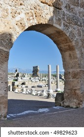 Turkey. Antalya. Ancient Greek - Roman town of Perge. Ruins, arc and columns