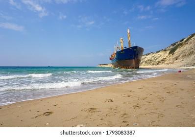 Çanakkale / Turkey: April 23, 2017: Shipwreck on Tenedos Island.