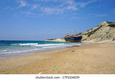 Çanakkale / Turkey: April 23, 2017: Shipwreck on Tenedos Island Beylik Bay.