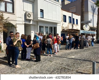 FOÇA, TURKEY - APRIL 29, 2017 : The shop is belongs to famous gummy ice cream producer Nazmi usta.People always waiting in the queue in front of his shop for long time to buy his delicious ice creams.