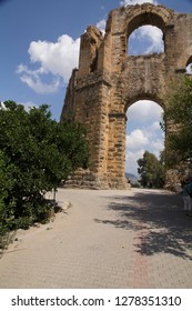Turkey, Aspendos. A small town in Pamphylia, now in southern Turkey. The aqueduct of Aspendos transported water from the hills to the north to the town over a distance of 12 miles (19 km).