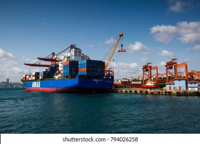 Turkey - August 08 ,2015 :Large container ship in a dock at port, Haydarpasa, Istanbul, Turkey