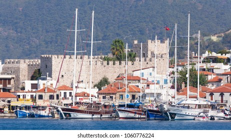 TURKEY - AUGUST 11, 2017: View from the sea to the white houses of the city of Marmaris, circa 2017