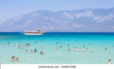 TURKEY – AUGUST 16, 2017: Mediterranean Sea near Cleopatra beach on Sideyri Island in Turkey, circa 2017