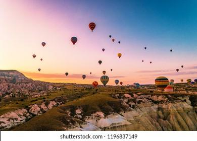 Turkey balloons Cappadocia Goreme Kapadokya , Sunrise in the mountains of Capadocia