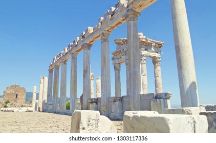 Turkey, Bergama. Ruins of the ancient Greek city of Pergamon. Ruined old city of Pergamo, protected by UNESKO. Antique columns of white marble.