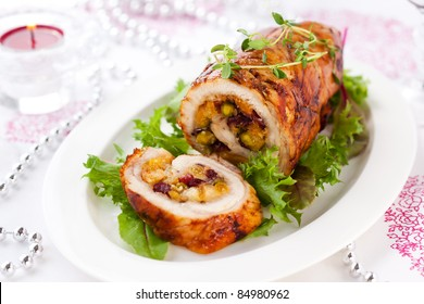 Turkey breast stuffed with cranberry,apricot and pistachio for Christmas