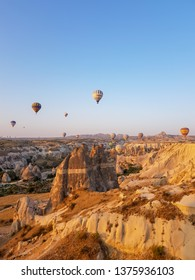 Turkey, Capadocia. On board with hot air bollon for beatiful sunrise scene July 2018