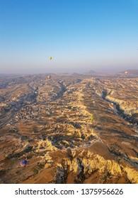 Turkey, Capadocia.  Top view onboard with hot air balloon Jul 2018