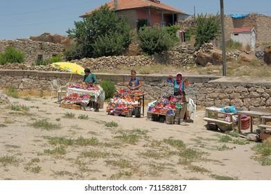 Turkey, Cappadocia, 14,07,2014 Women who sell handmade souvenir rag dolls