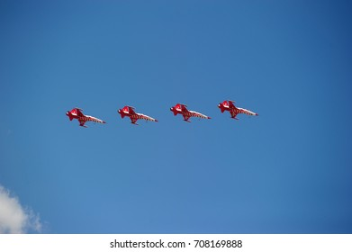 Turkey, Cappadocia, 16,07,2014 Performance of the Turkish aerobatic team at the air show.