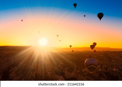 Turkey Cappadocia beautiful balloons flight stone landscape amazing