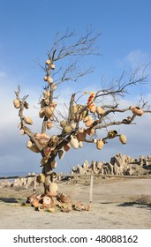 Turkey. Cappadocia. Rocky formations near Goreme (Gereme) and tree with pots